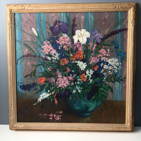 Antique 1920s floral painting - vintage framed art