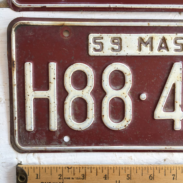 1959 Massachusetts automobile license plates - a pair - number H88-496 - NextStage Vintage