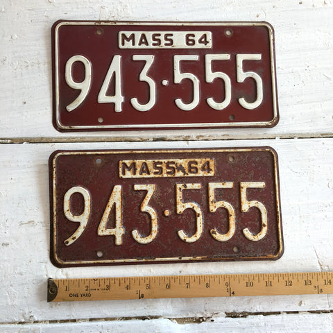 1964 Massachusetts automobile license plates - a pair - number 943-555 - NextStage Vintage
