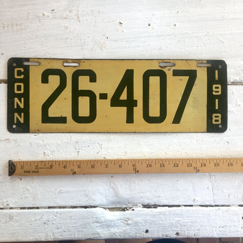 1918 Connecticut automobile license plate - number 26-407