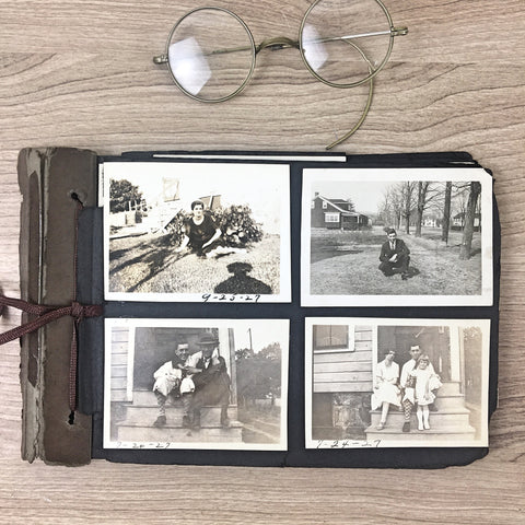 1920s - 1930s photograph album - snapshots of people, cars, special events, vacations