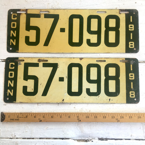 1918 Connecticut automobile license plates - a pair - number 57-098