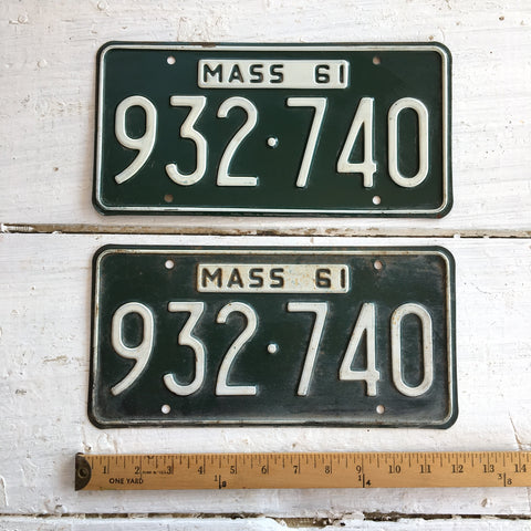 1961 Massachusetts automobile license plates - a pair - number 932-740