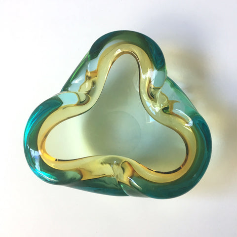 Amber, aqua and clear murano glass bowl - Italian art glass - NextStage Vintage