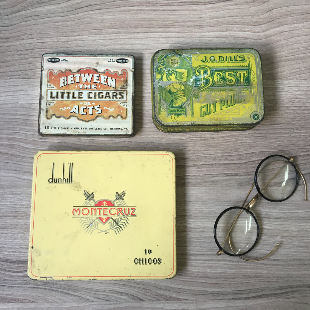 Tobacciana vintage tins - set of 3 - JC Dill, Dunhill, Between the Acts - NextStage Vintage