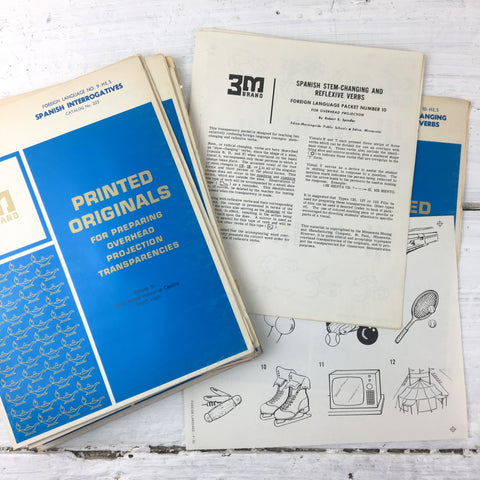 3M Printed Originals for Preparing Overhead Projection Transparencies - 1960s vintage Spanish and French school supplies