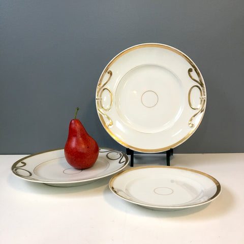 Art nouveau serving plate set of 3 - white and gold - 1940s vintage - NextStage Vintage