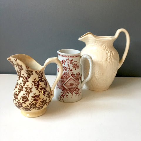 Antique and vintage brown and white pitcher collection - 3 pieces - NextStage Vintage