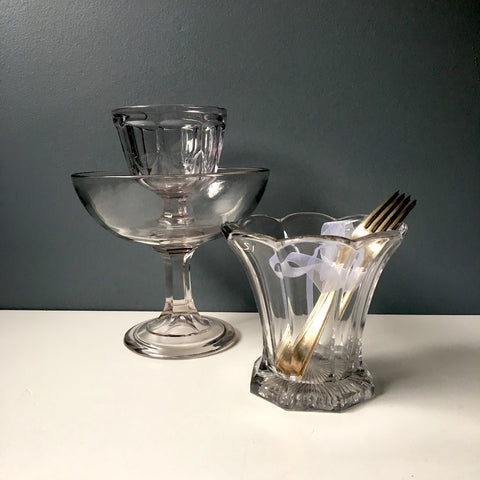 Antique EAPG serving vessels - group of 3 - colorless glass - NextStage Vintage