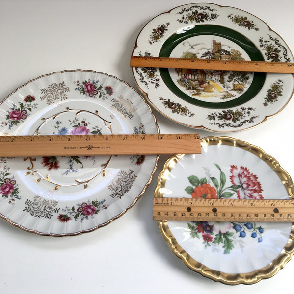 Decorative floral plates - set of three - E&R and Wood and Sons - vintage plates - NextStage Vintage