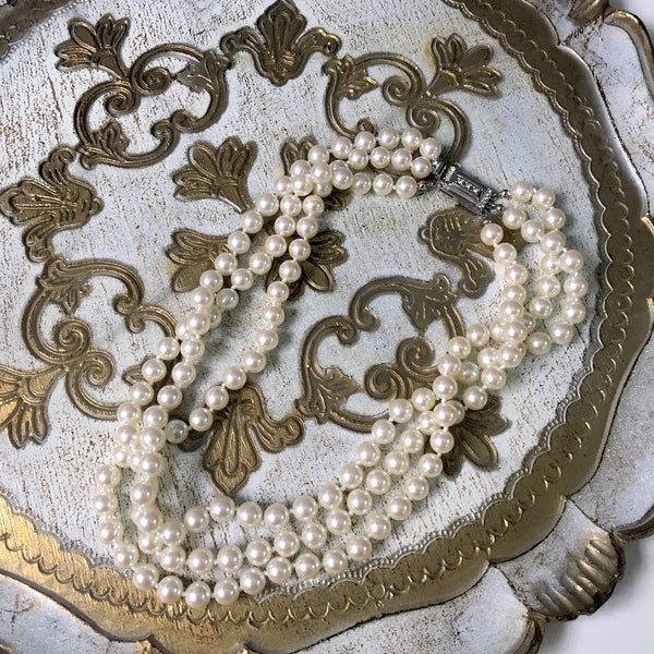 Carolee triple strand pearl necklace - princess length - 1980s vintage - NextStage Vintage
