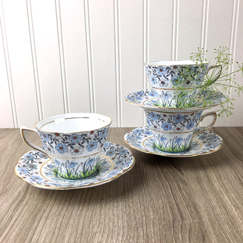 Rosina blue floral teacups #4967 - set of 3 - vintage English bone china - NextStage Vintage