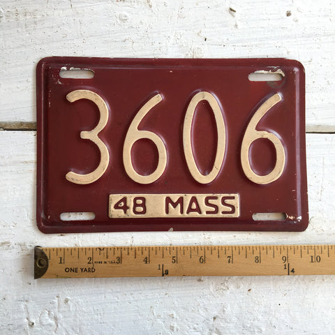 1948 Massachusetts automobile license plate - number 3606