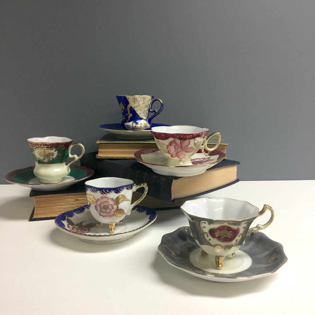 Asian demitasse set of 5 - mixed patterns - 1950s vintage china - NextStage Vintage