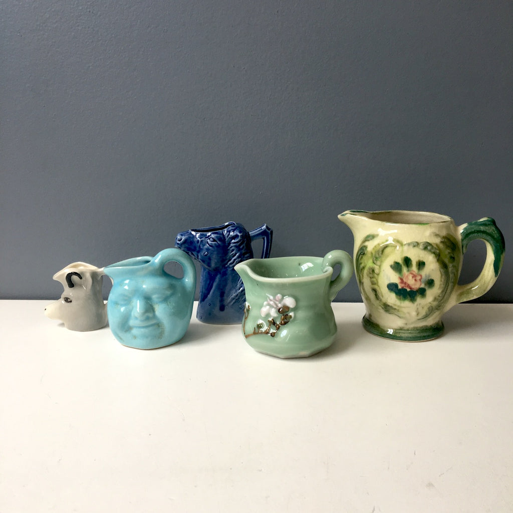Eclectic small pitcher collection - vintage pottery group of 5 - NextStage Vintage