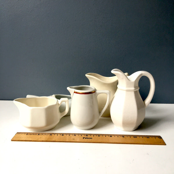White pitcher collection - small china pitchers for decor or use - NextStage Vintage