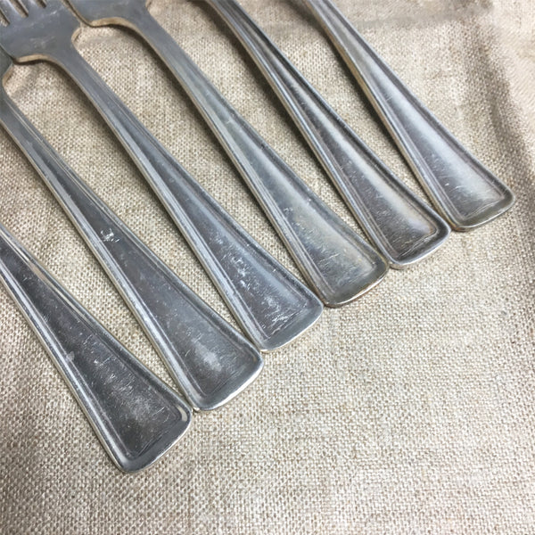 Restaurant ware forks by Victor S Co. / International silver - set of 6 - turn of century silverplate flatware - NextStage Vintage