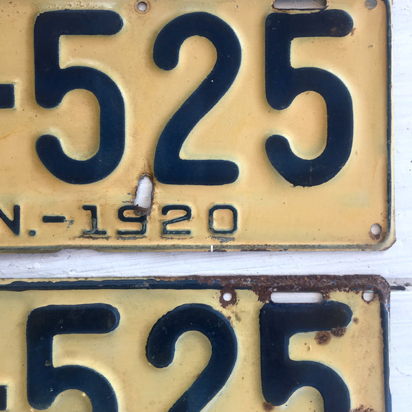 1920 Connecticut automobile license plates - a pair - number 84-525 - NextStage Vintage