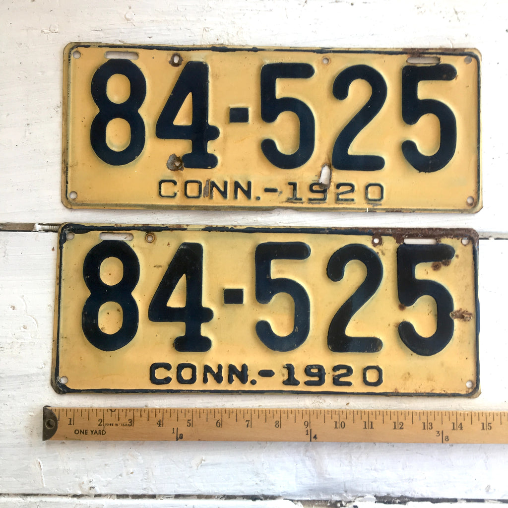 1920 Connecticut automobile license plates - a pair - number 84-525