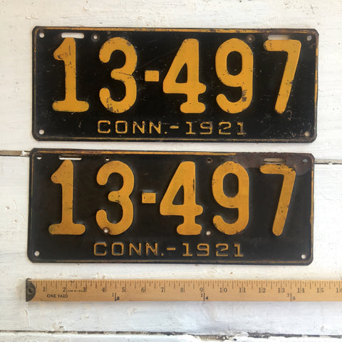 1921 Connecticut automobile license plates - a pair - number 13-497