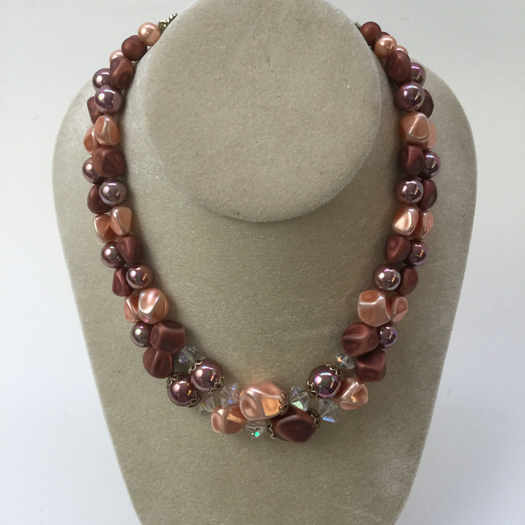 Two strand beaded necklace - 1960s cocoa, peach and crystal vintage necklace - NextStage Vintage