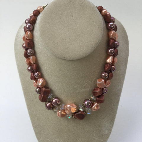 Cocoa, peach and crystal double strand necklace - 1960s vintage - NextStage Vintage