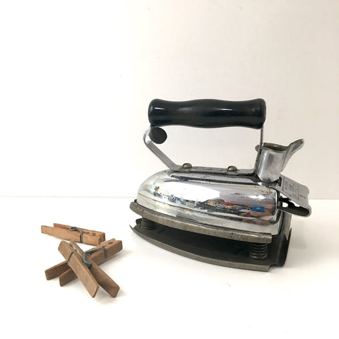 Hotpoint Calrod iron model R - with stand - no cord - 1930s vintage General Electric iron for display or decor - NextStage Vintage