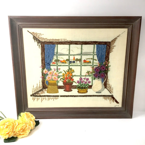 Window flowers and landscape crewel embroidery - framed needlework - 1970s - NextStage Vintage