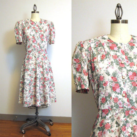 California Looks floral day dress - size XL - 1980s vintage dress
