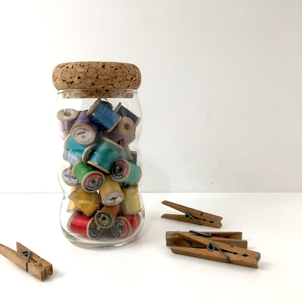 Rainbow thread in a vintage jar - sewing room decor - NextStage Vintage