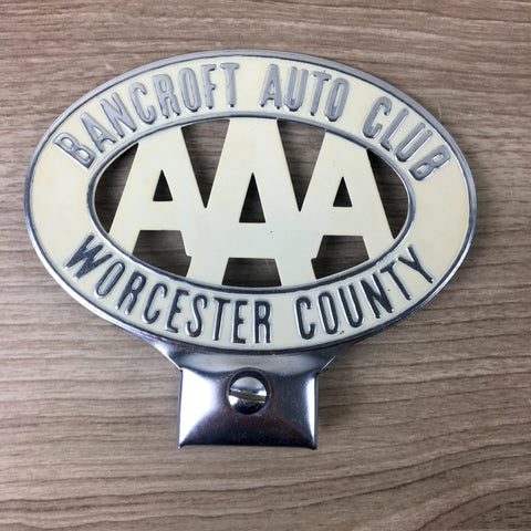 AAA license plate topper - Bancroft Auto Club - Worcester MA with hardware - unused