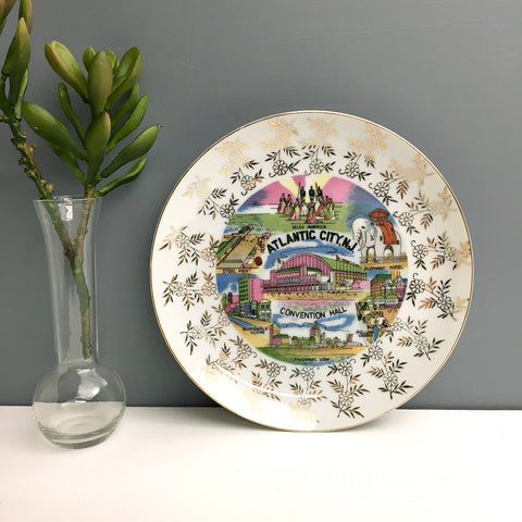 Atlantic City, New Jersey vintage travel souvenir plate - vintage road trip