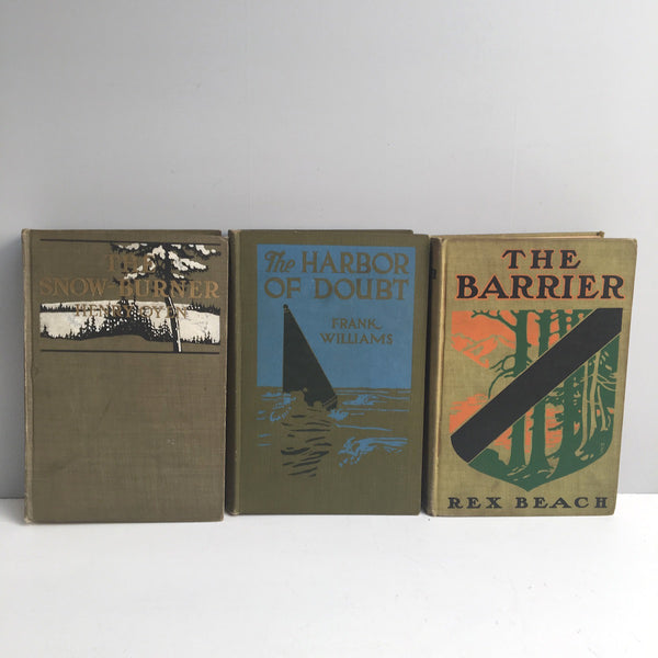 Adventure book set - 3 novels from the early 1900s - antique green hardcover books - NextStage Vintage