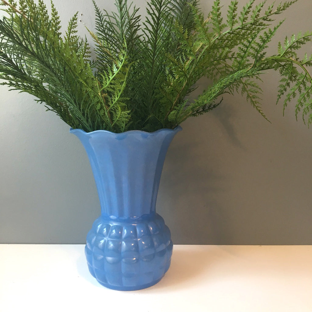Anchor Hocking pineapple vase with blue fired on finish - 1950s vintage - NextStage Vintage
