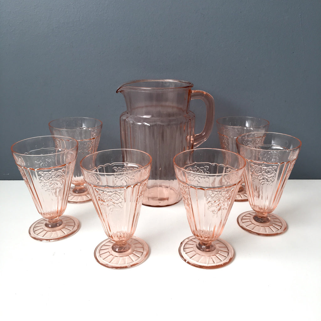 Anchor Hocking pink Mayfair footed tumblers and Pillar Optic pitcher - 1930-1940s vintage - NextStage Vintage