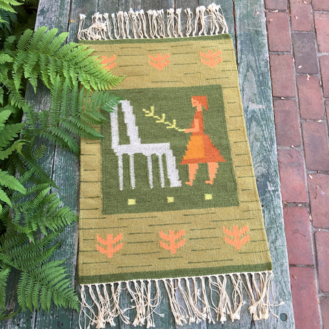 Andean alpaca and girl woven tapestry - vintage textile