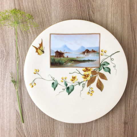 Painted Alps scene plate with flowering vine - vintage decorative plate