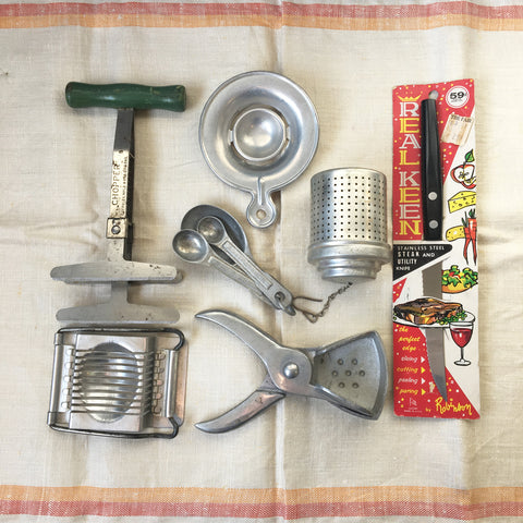 Aluminum vintage kitchen utensil collection - useful tools from many eras