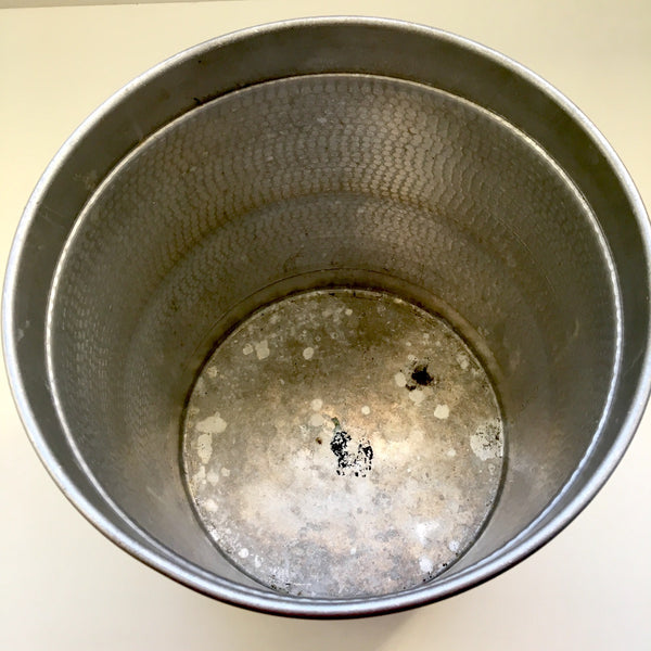 Hammered aluminum wastebasket - made in Italy - 1950s - NextStage Vintage