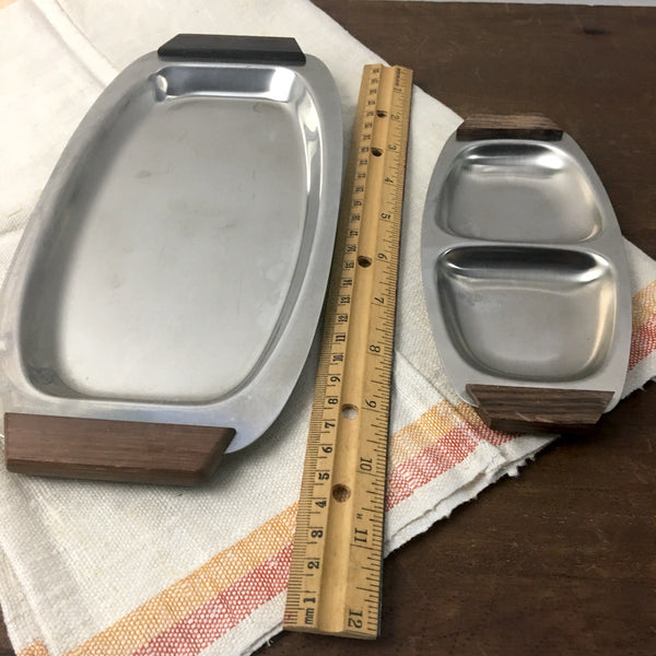 Four aluminum and wood side serving pieces - relish and appetizer trays - 1970s - NextStage Vintage