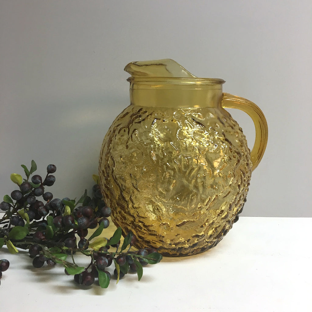 Anchor Hocking Lido pitcher - honey gold - 1960s vintage Phillips 66 premium - NextStage Vintage