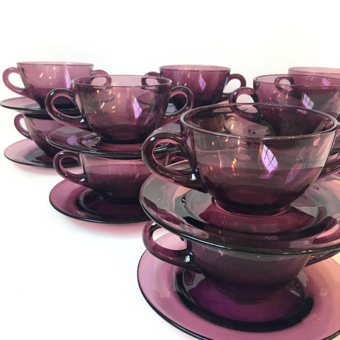 Amethyst glass broth or cream soup cup with saucers - set of 4 - NextStage Vintage