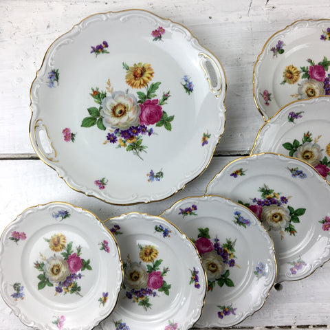 Amzo Mariechen dessert plates and handled platter - vintage floral china