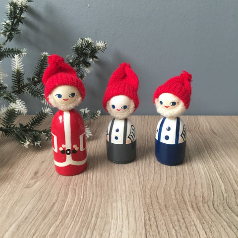 Anne Beate Designs Santa and elves - vintage Danish Christmas decor