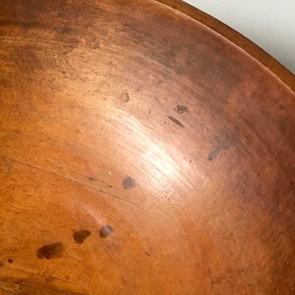 "Primitive antique turned wood dough bowl - 16.75"" diameter - NextStage Vintage"