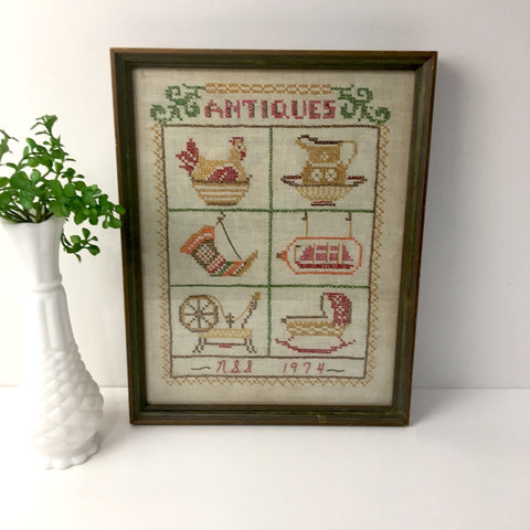 Antiques framed cross stitch - antique treasures - 1970s framed needlework - NextStage Vintage