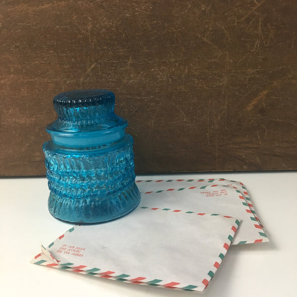 Aqua blue glass apothecary jar - small canister storage - 1960s - NextStage Vintage