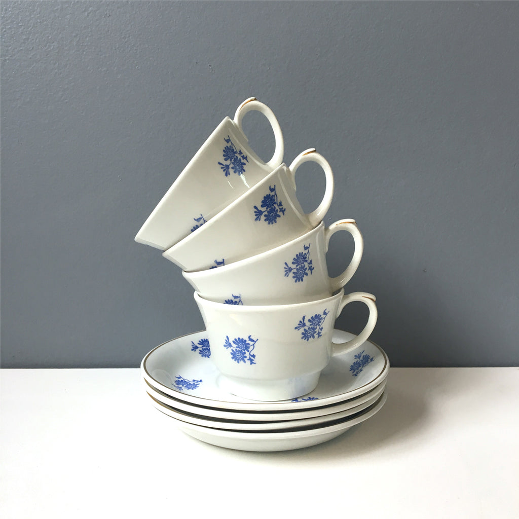 Arabia Finland demitasse cups and saucers - set of 4 - blue flowers 1950s vintage - NextStage Vintage