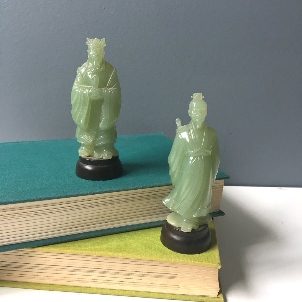 Asian miniature figures set of 2  - molded plastic - 1960s vintage - NextStage Vintage