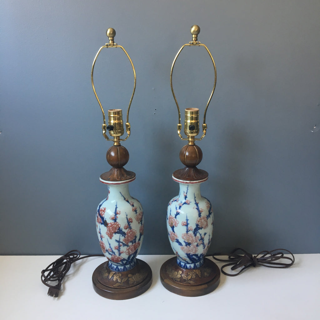 Asian vase lamps - antique cherry blossom pottery with modern wiring - NextStage Vintage